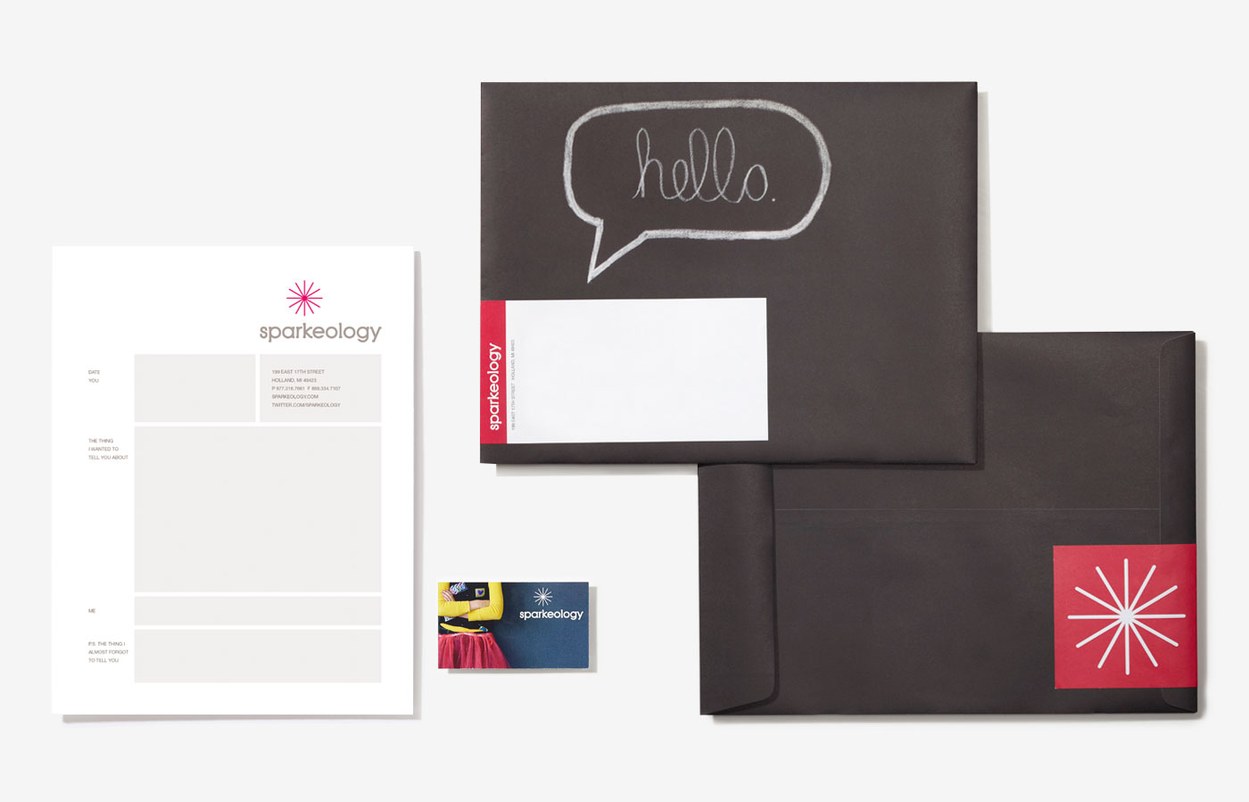 Sparkeology Letterhead, Business Card and Envelopes