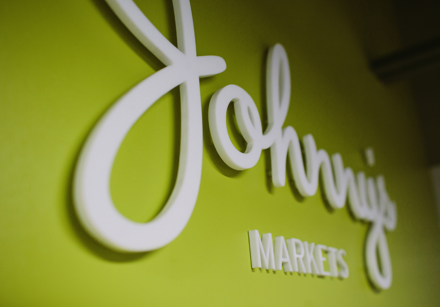 Johnny's Markets Raised Lettering Signage
