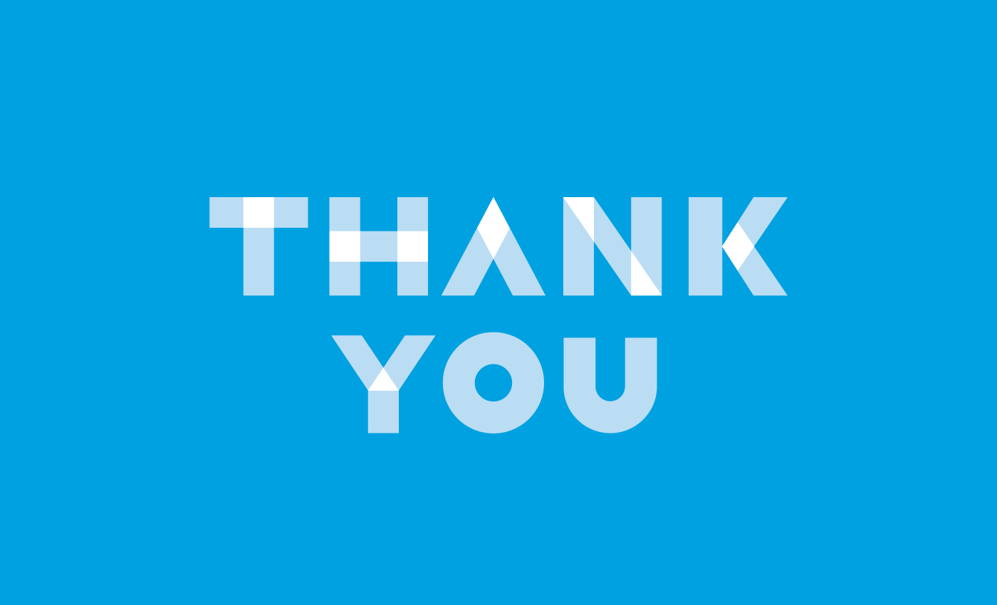 Thank you on blue background