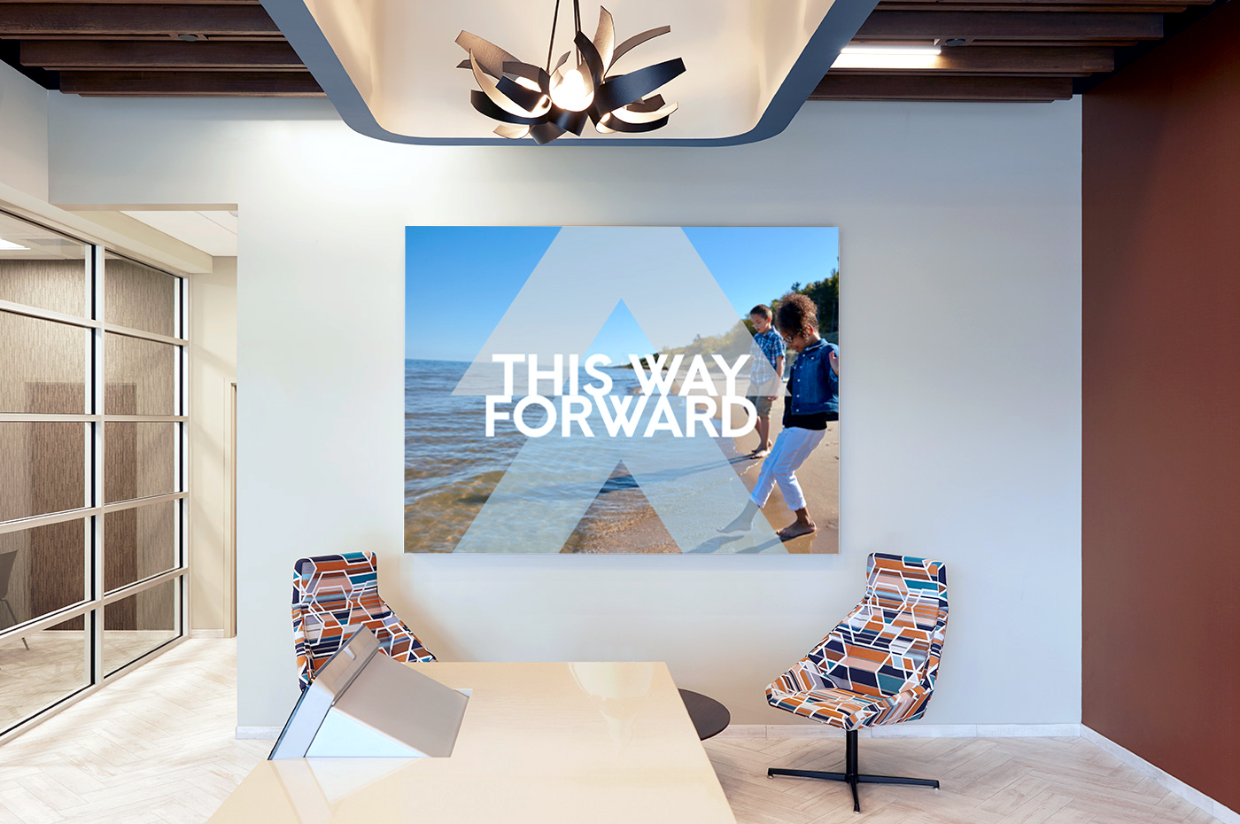 Adventure Credit Union Interior with This Way Forward Sign