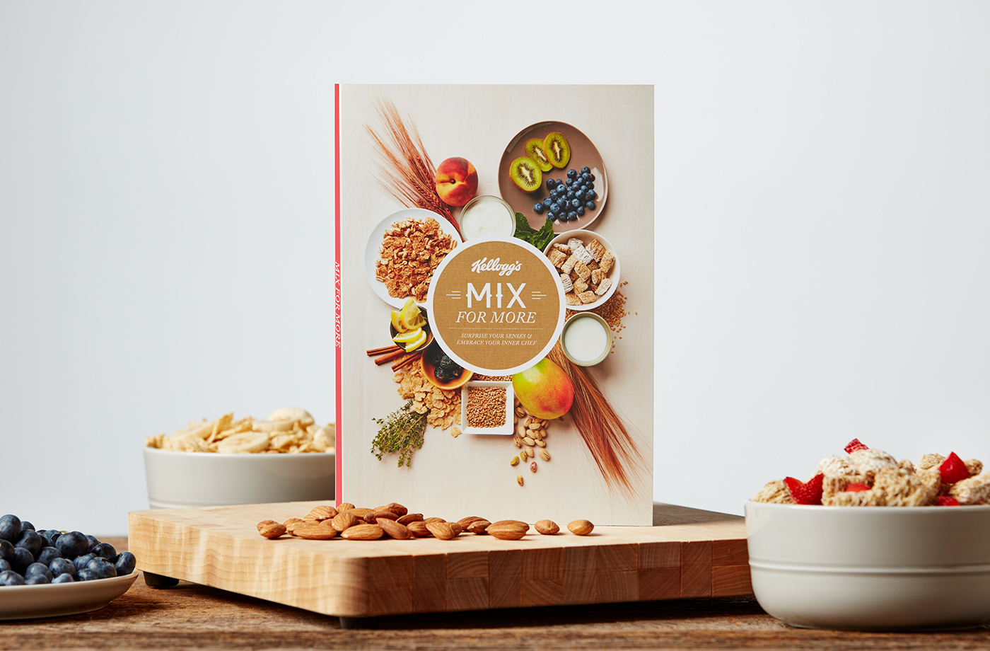 The cover of the Mix For More booklet surrounded by fruits, nuts, and cereal.