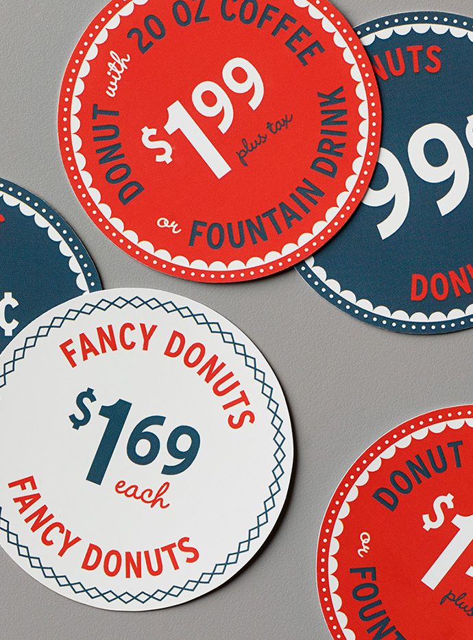Johnny's Circular Donut Pricing Signs