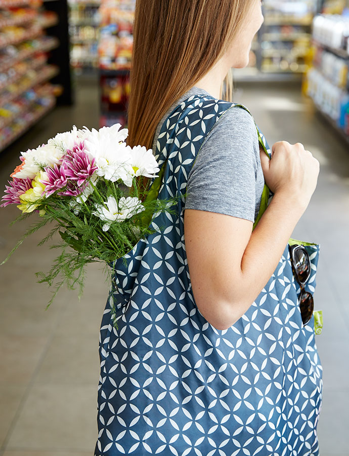 Johnny's Blue Patterned Tote with Flowers
