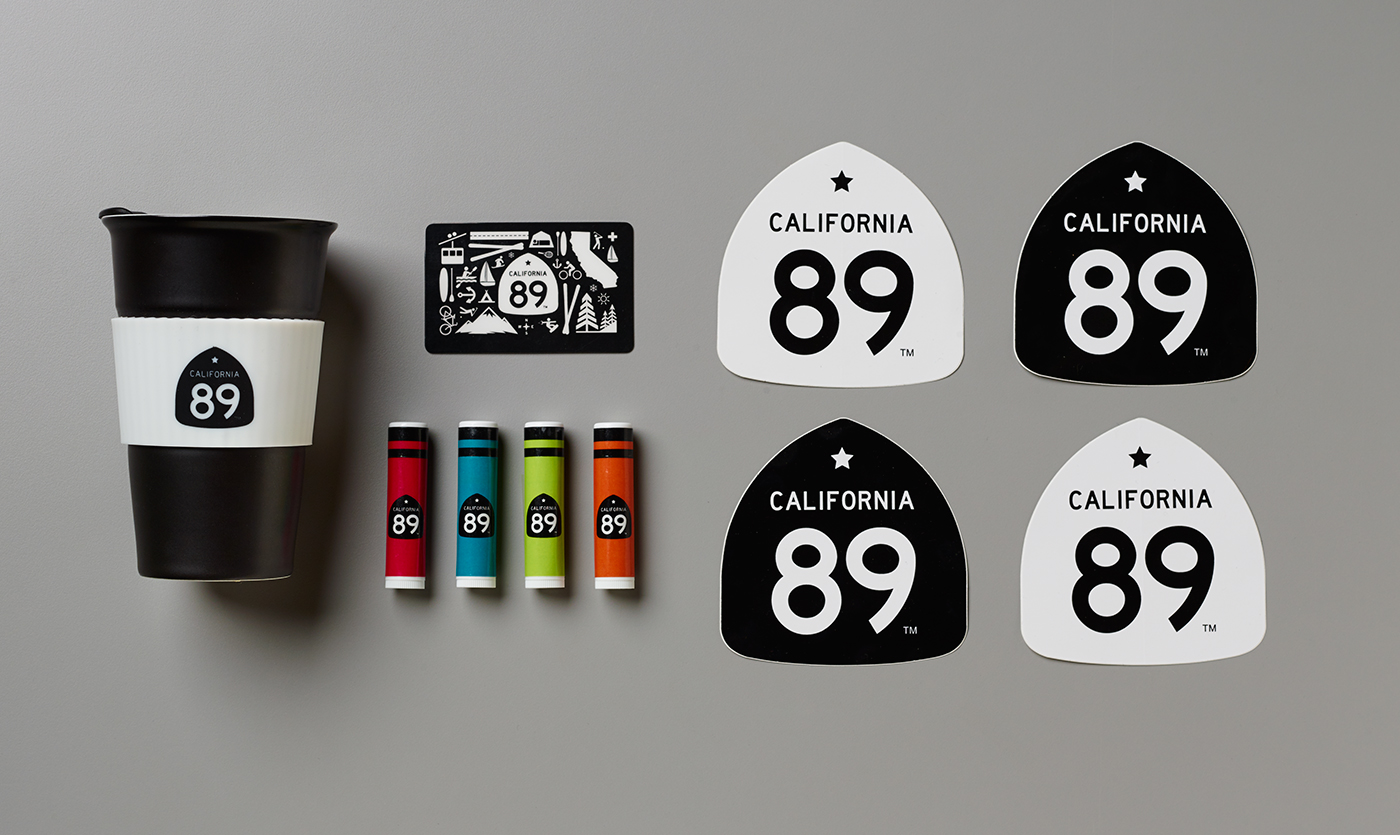 California 89 Travel Mug, Chapstick, and Bumper Stickers
