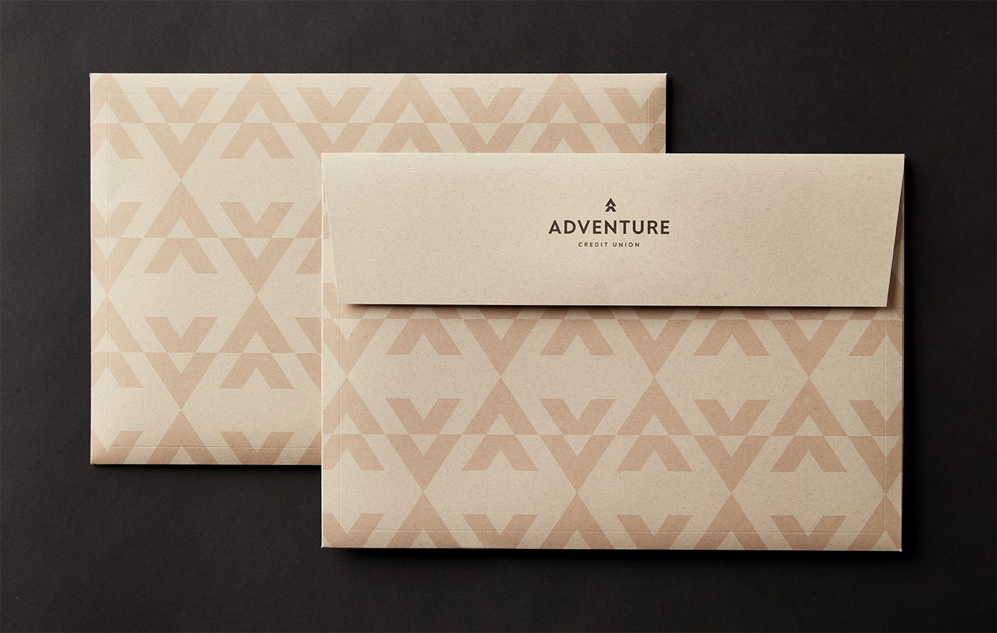 Adventure Credit Union patterned envelopes