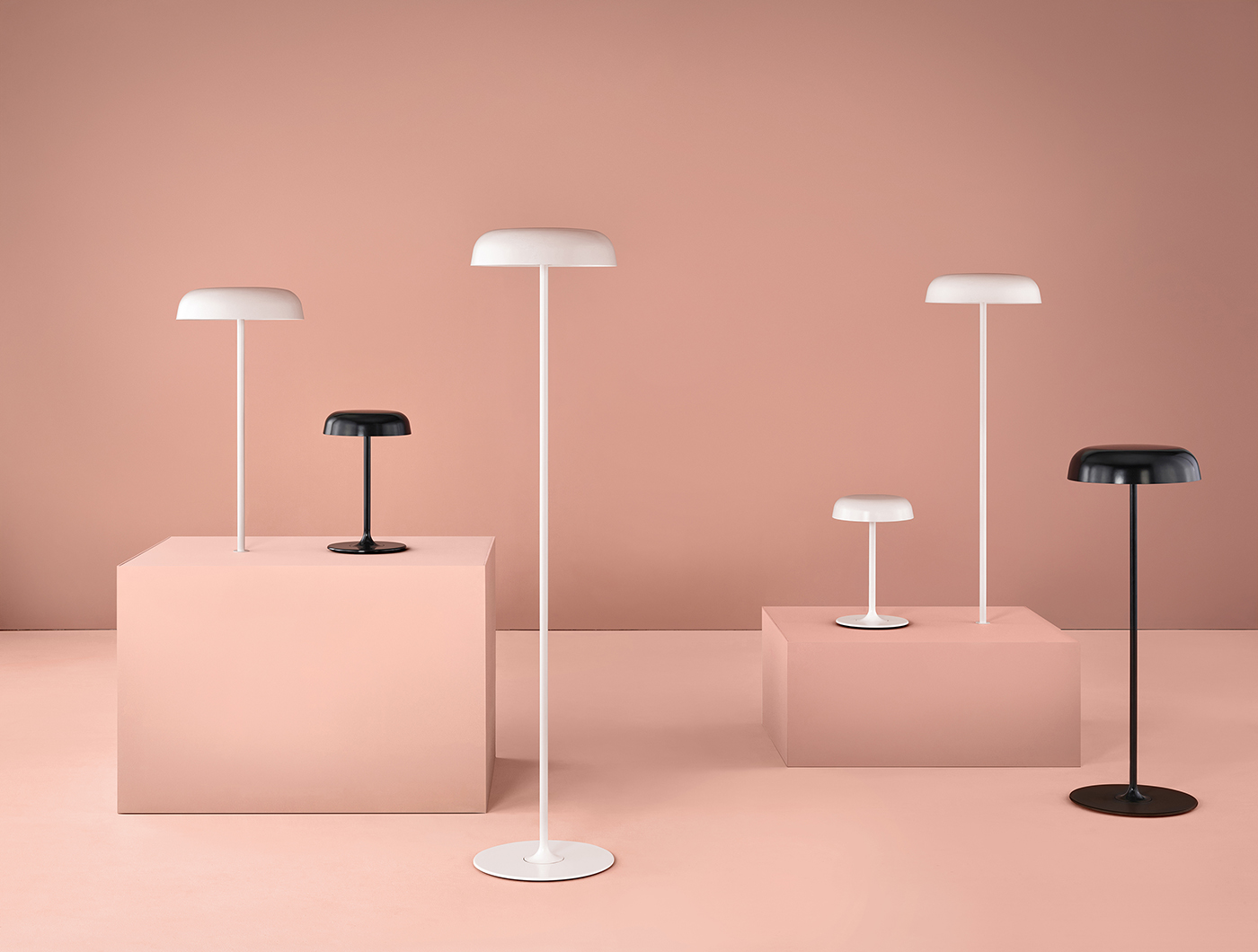 Ode Lamps in different colors and heights.
