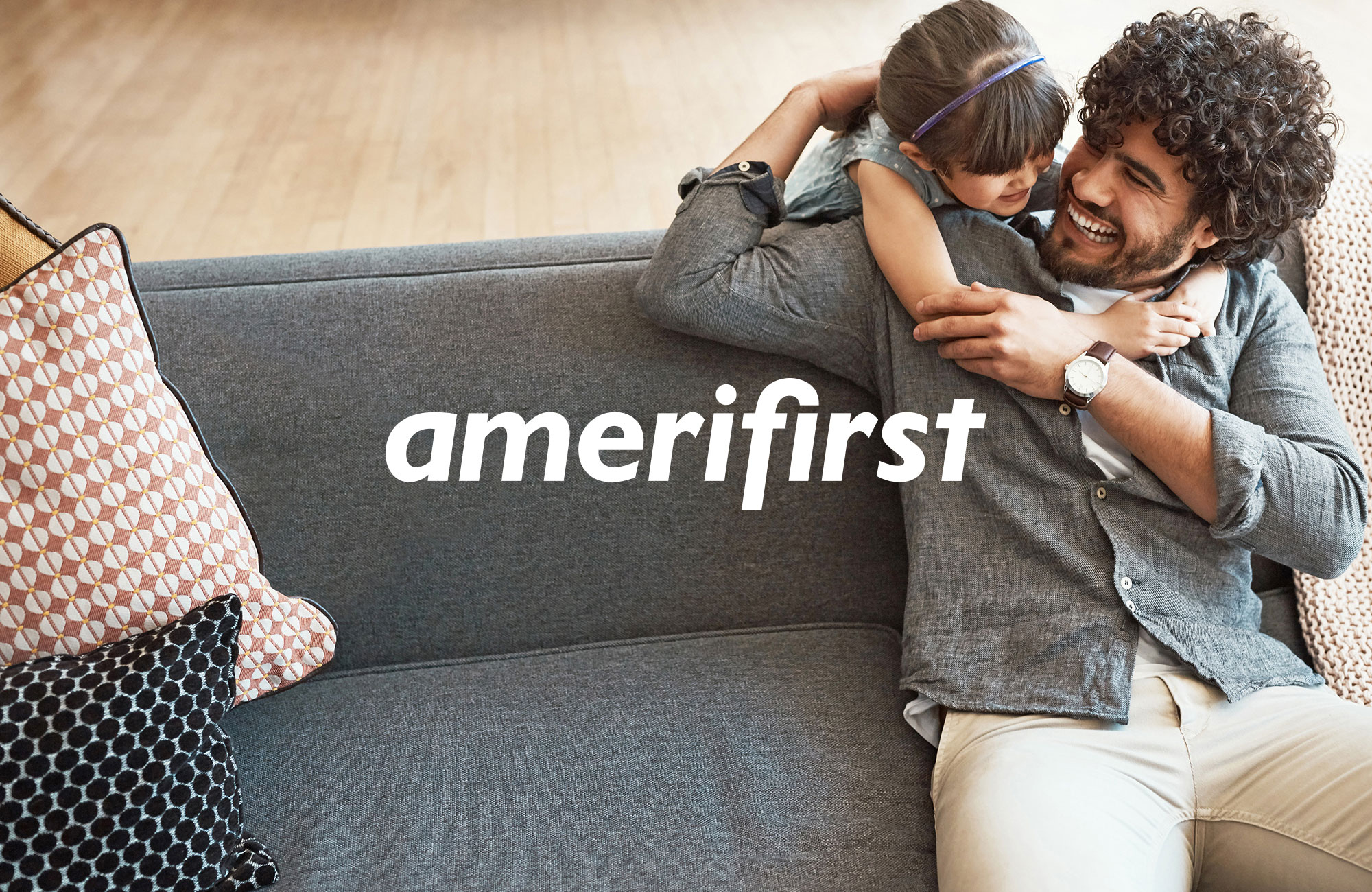 Photo of father and daughter and Amerifirst Logo.