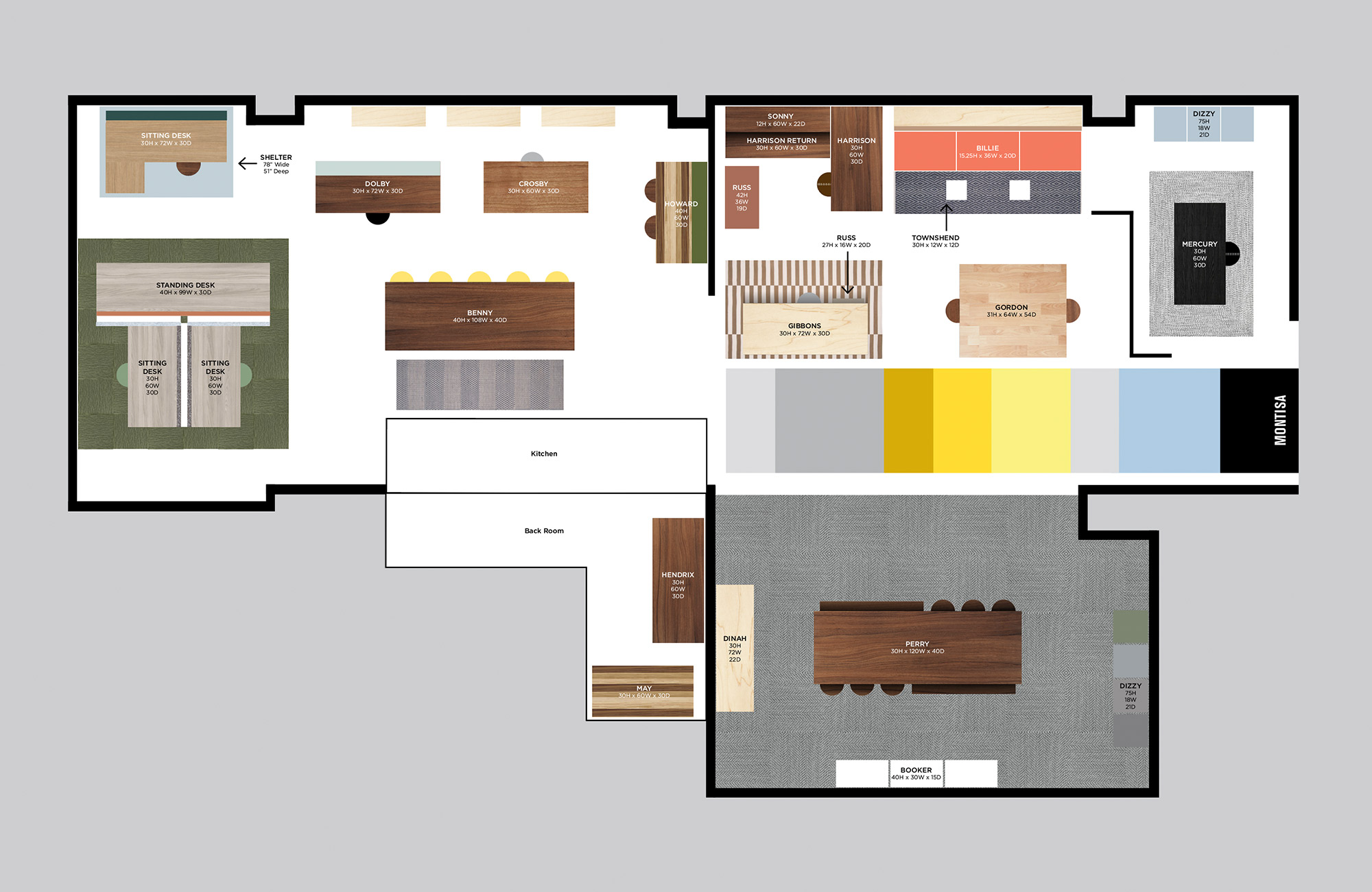Floor plan of showroom.