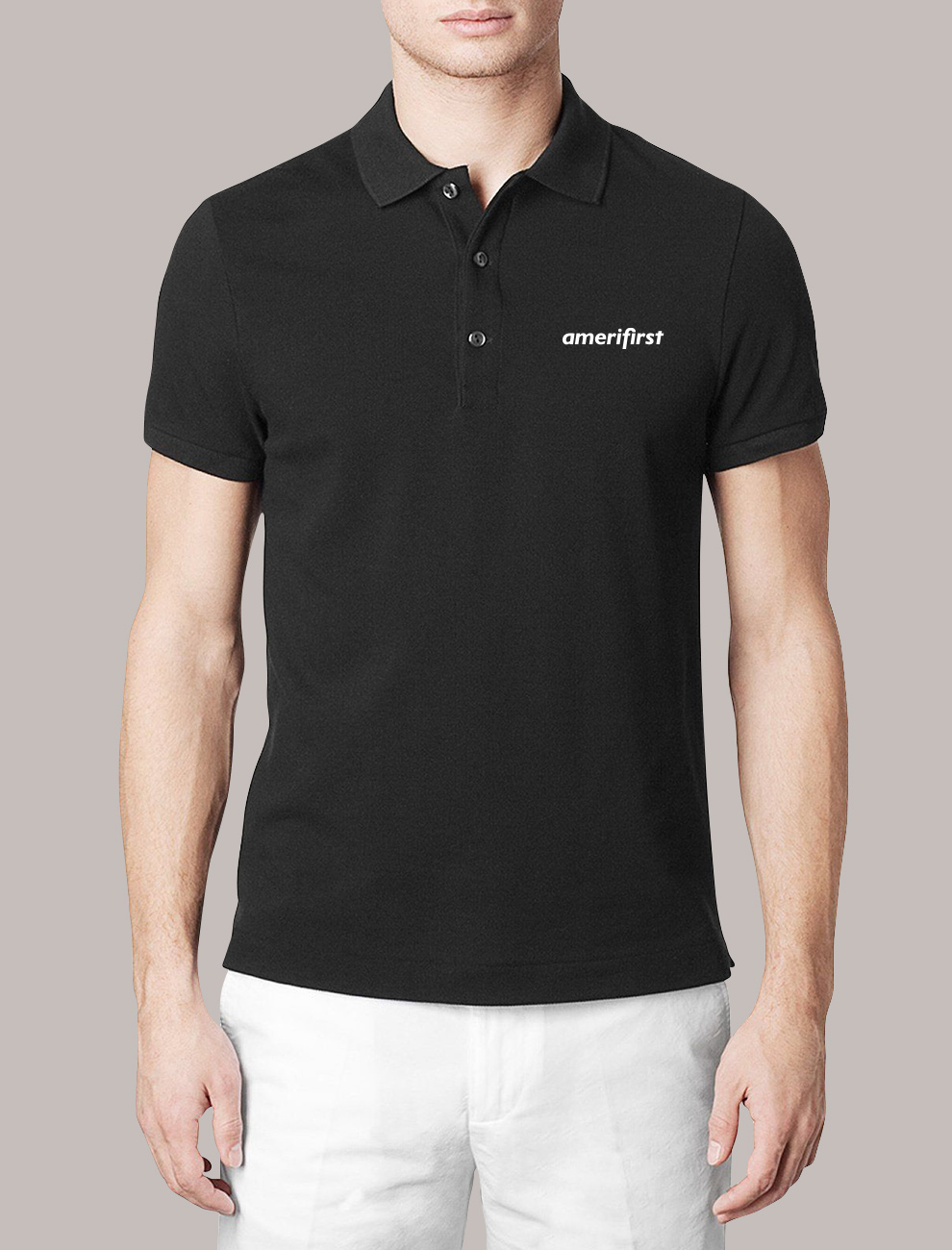 Amerifirst black polo shirt and logo.