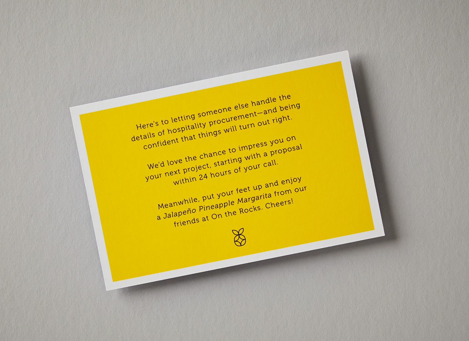 A yellow notecard from Pineapple Procurement on a gray background.